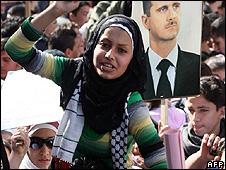 Veiled women at demonstration in Dascus