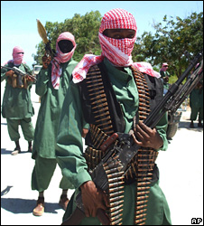 Members of al-Shabab at a training camp outside Mogadishu (4 November 2008)