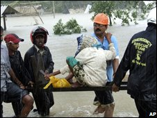 Injured person in flood-affected area