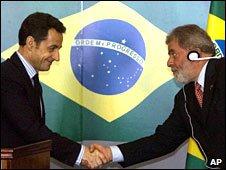 Presidents Sarkozy and Lula ata news conference in Rio de Janeiro.