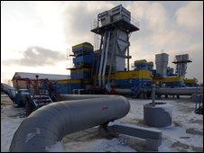 A Ukrainian gas holding station in Mryn, 130km from Kiev, 16 December