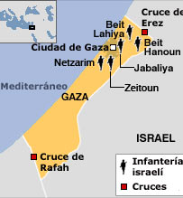 Franja De Gaza Mapa.Bbc Mundo Internacional Israel Divide La Franja De Gaza