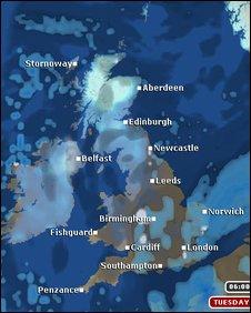 Tuesday Weather Map.Bbc News Uk Rain And Snow Spark Flood Alerts