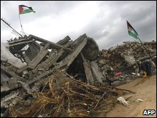 The rubble of a house in Jabaliya, Gaza (22/02/2009)