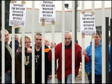 Protesters at the Visteon car parts factory in west Belfast
