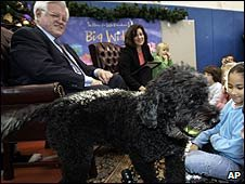 US Senator Ted Kennedy and his Portuguese water dog, Splash (27/11/2006)