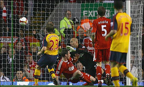 b9a01bdeb Andrey Arshavin put Arsenal ahead against Liverpool. Arshavin scores the  first of his four goals