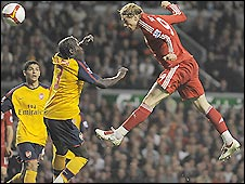 eb3b4429f Fernando Torres heads his side level for the first time in the pulsating  game against Arsenal