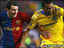 Lionel Messi (left) and Jose Bosingwa