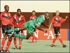 Kalusha Bwalya in action for Zambia in 1998