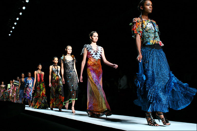 Models wearing a collection by South Africa-based designer Vesselina Pentcheva