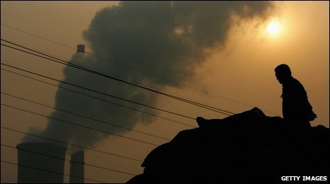 Chinese power plant emitting plumes of smoke from industrial