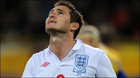 Frank Lampard rues a missed chance for England