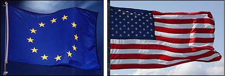 Flags of Eu and US