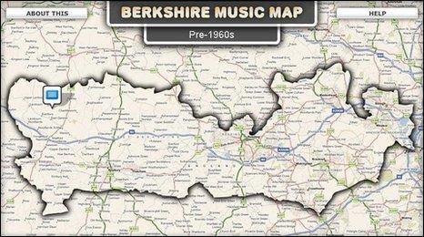 Map Of Berkshire BBC   Music Map of Berkshire Map Of Berkshire