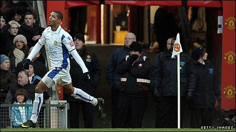 Jermaine Beckford stuns the Old Trafford crowd in the 19th minute
