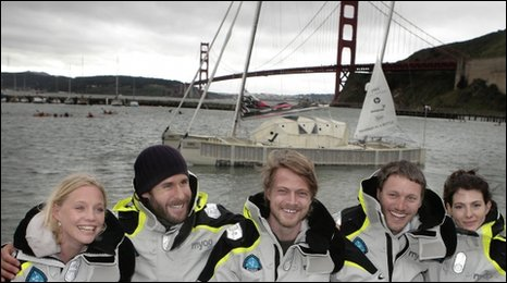 Boat made of plastic bottles sets sail across Pacific