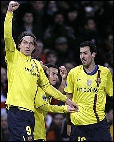 Ibrahimovic (left) celebrates his second goal