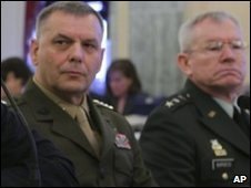 Joint Chiefs of Staff Vice Chairman Marine Gen James Cartwright  (L) and Lt Gen Ronald Burgess, head of the Defense Intelligence Agency,  testify to Congress in Washington - 14 April 2010