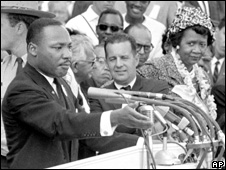 Dorothy Height stands on the platform with Martin Luther King Jr  (August 1963)
