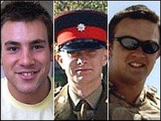 Privates Aaron McClure, Robert Foster and John Thrumble (Pic:  MoD)