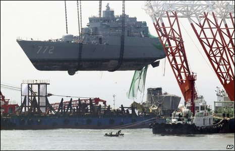 A section of the Cheonan is lifted on 24 April 2010