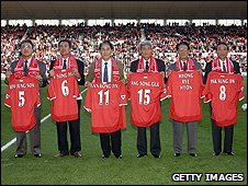North Korea 1966 squad in Middlesbrough in 2002