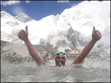 Lewis Gordon Pugh after the swim