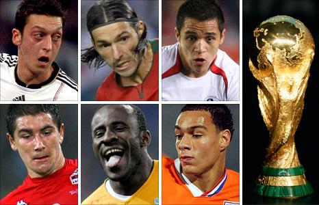 Clockwise from top left: Mesut Ozil, Danny, Alexis Sanchez, the  World Cup trophy, Gregory van der Wiel, Seydou Doumbia and Aleksander  Kolarov