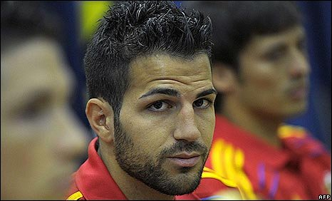 Arsenal captain Cesc Fabregas at a press conference with the Spain  World Cup squad