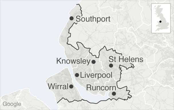 Map showing the area electing the mayor for Liverpool City Region